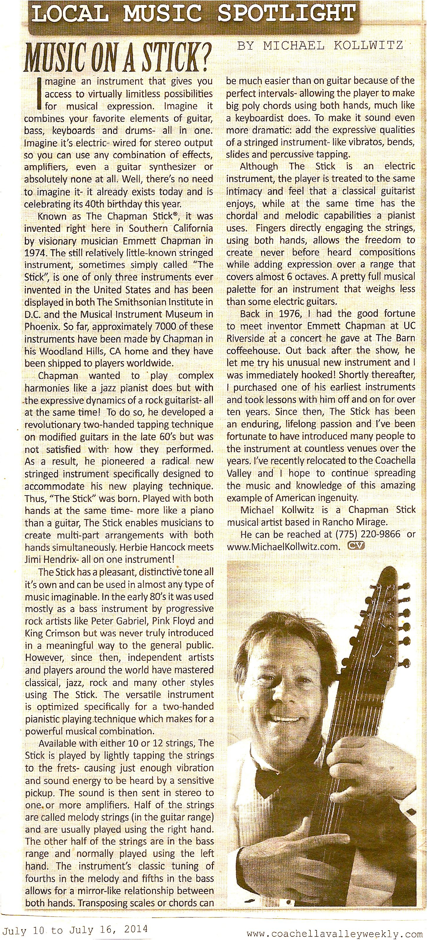 "Coachella Valley Weekly Article: ""Music On A Stick?"""